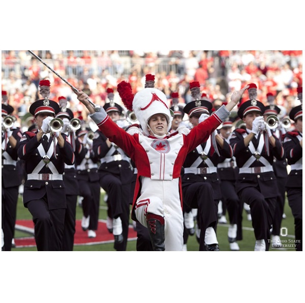 OSU Drum Major and Band on Field from OSU Marketing